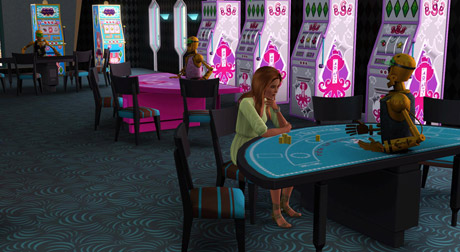 Saskia plays some blackjack in a nearly-deserted casino