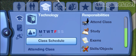 Sims 3 University Life - the Academic panel.