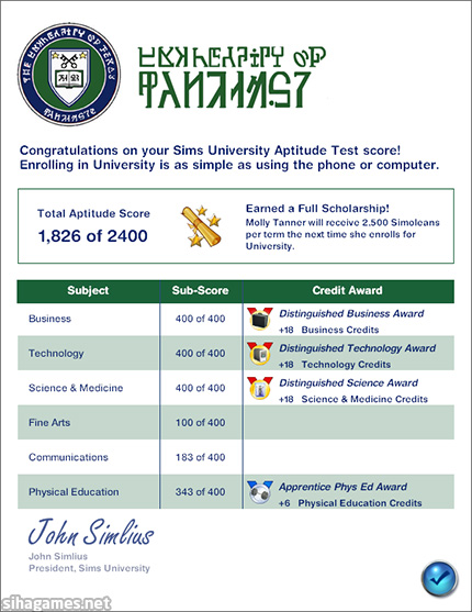 A completed Sims 3 University Aptitude Test.