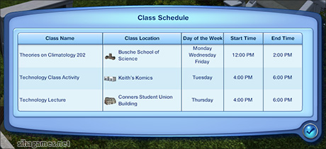 A completed Sims 3 - a University class schedule.