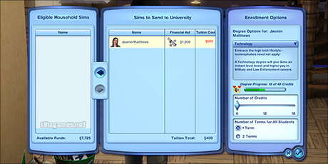 A completed Sims 3 - enrolling at University.