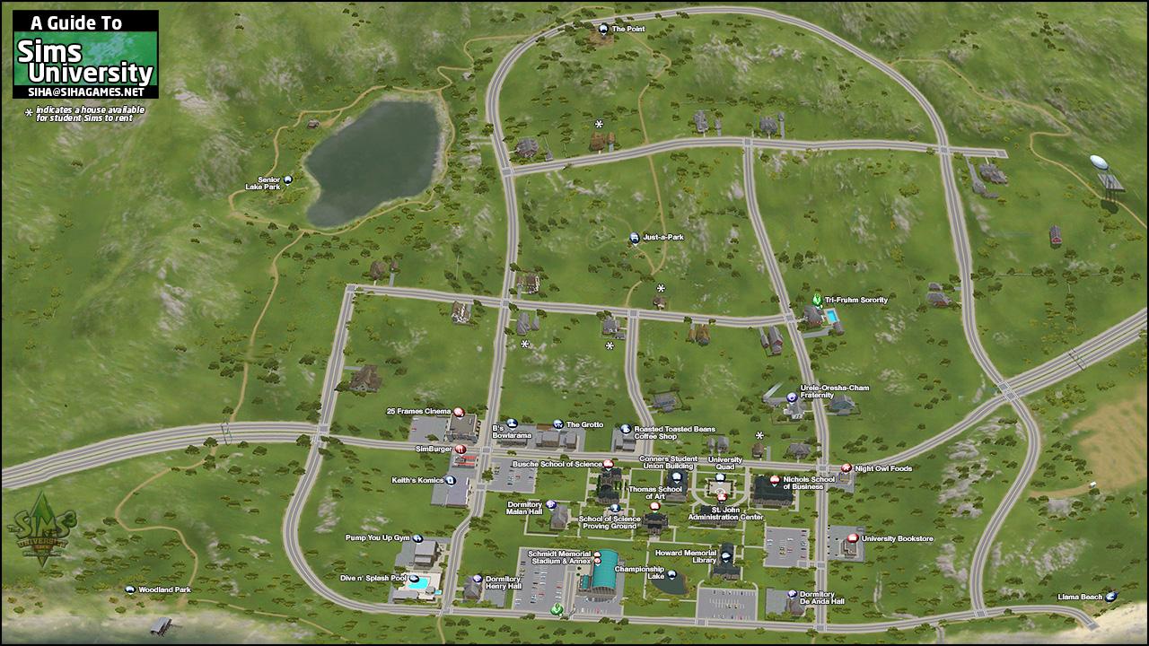 The Sims 3 University Life: Sims University map - Siha Games!