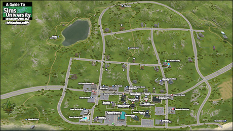 Sims 3 University Life - Sims University map.